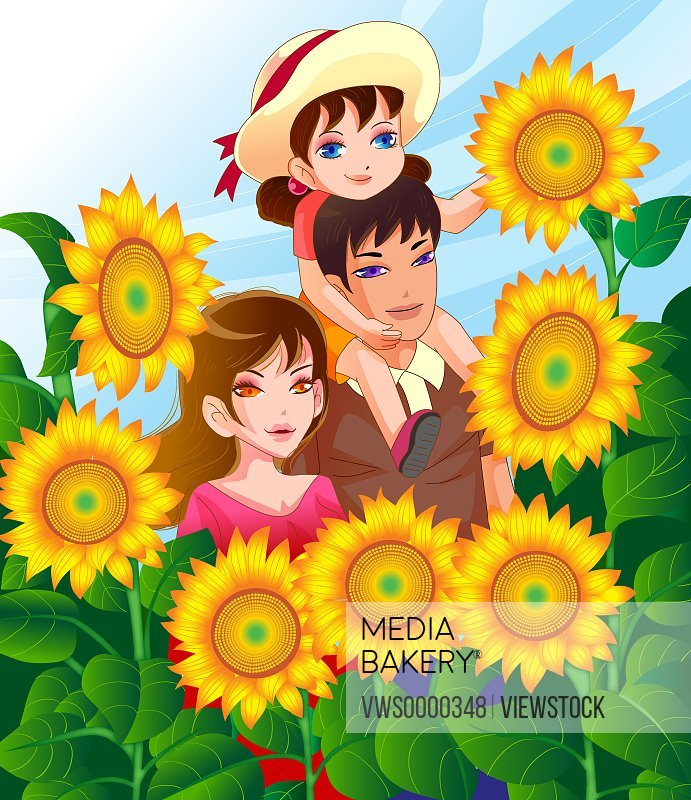 Illustration of family with sunflower
