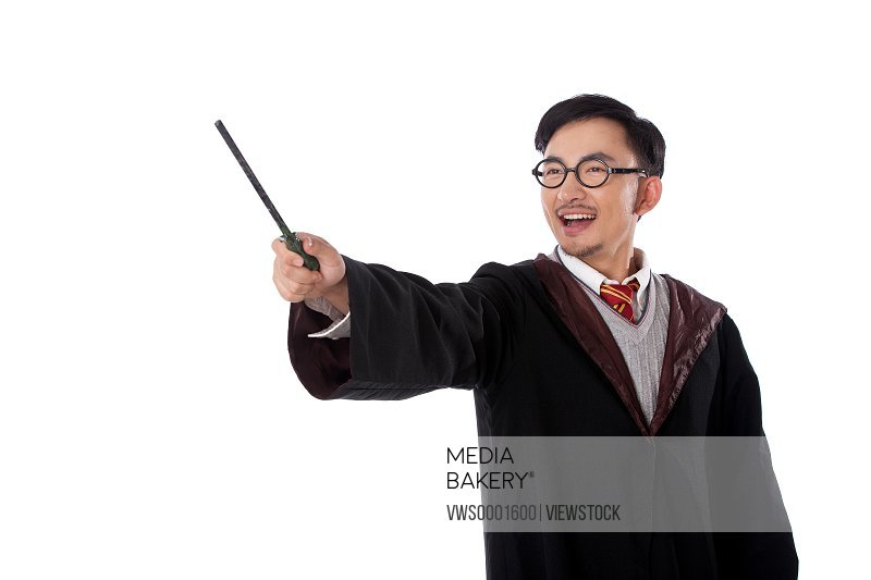 Young man dressed as a wizard