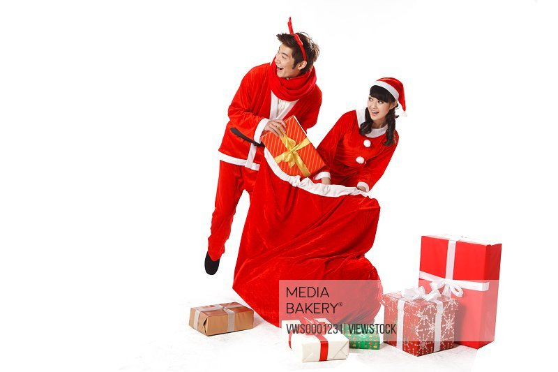 Young couple celebrating Christmas