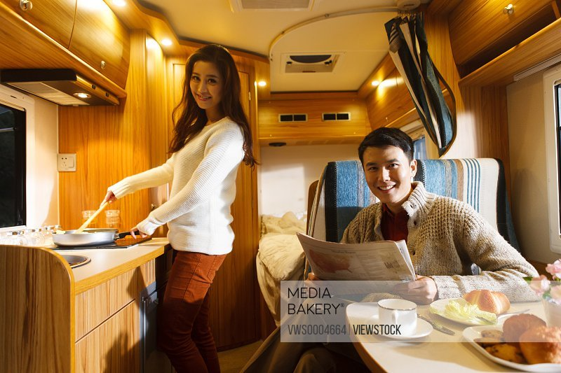 Couple in a motor home