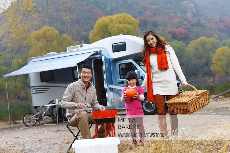 Family outdoor camping