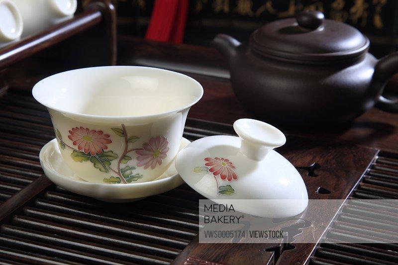 Close-up of tea set