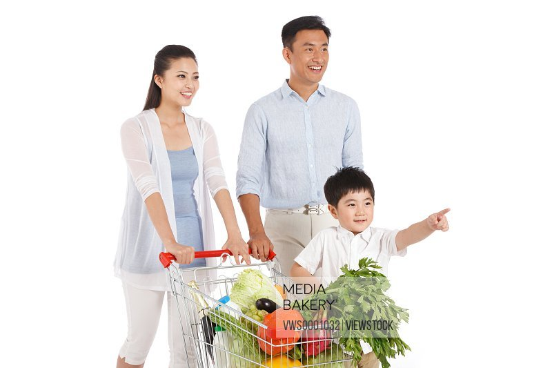 Family with vegetables in shopping cart