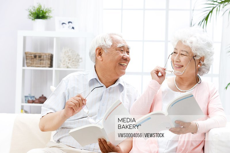 Old couple read books