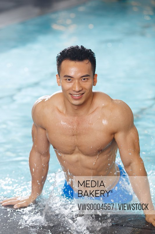 Young man in swimming