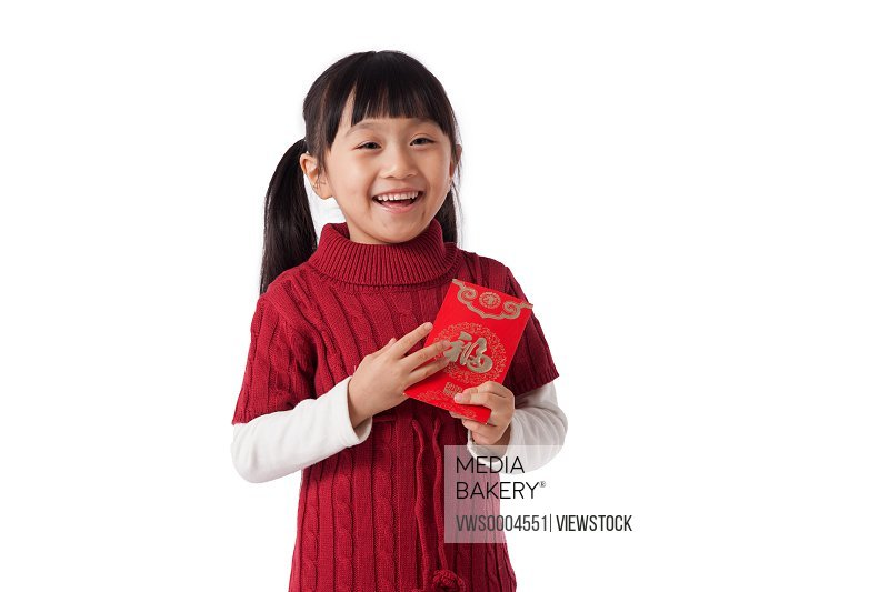 Oriental girl holding a lucky money envelope