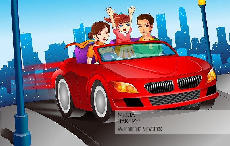 Illustration of family in car