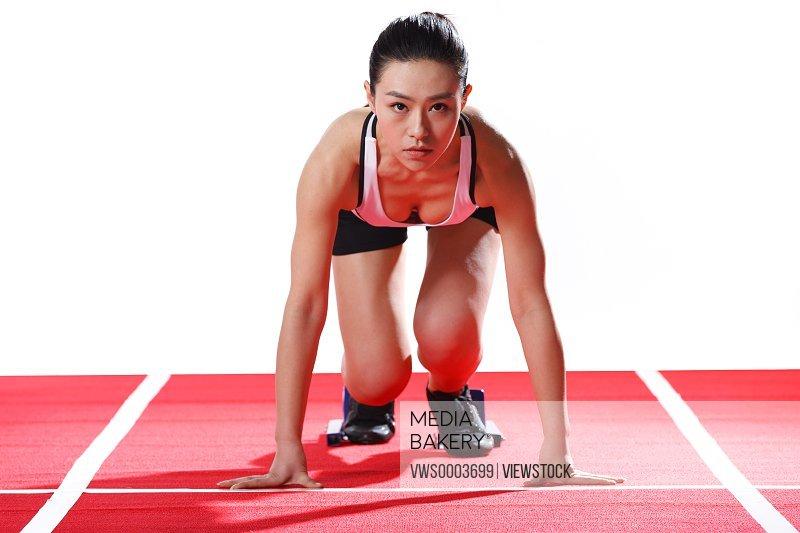 Famale athlete wait to start