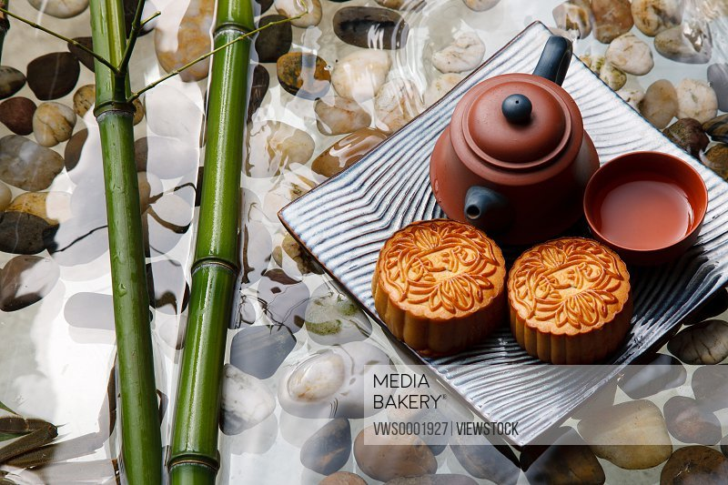 Close-up of moon cakes and teapot