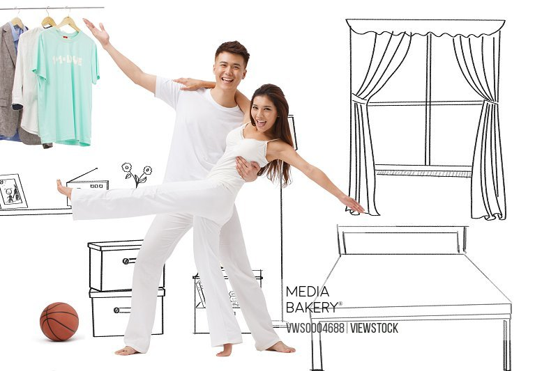 A chinese couple at home