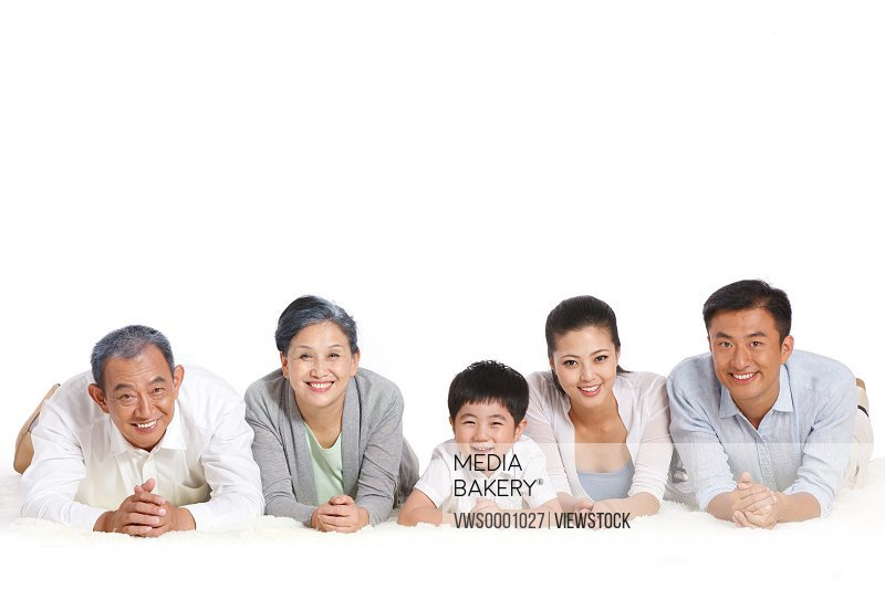 Whole family lying on floor