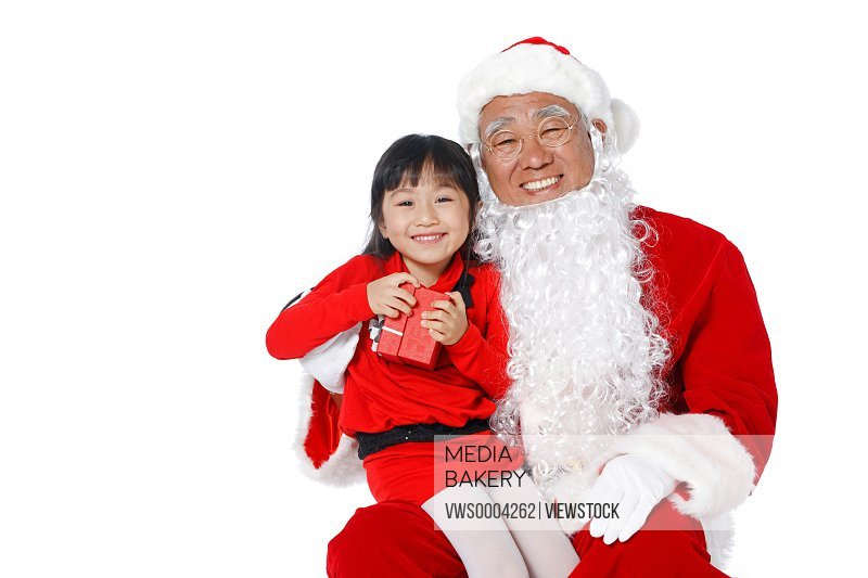 Santa Claus and a young girl