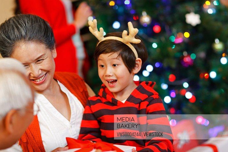 A happy little boy in Christmas