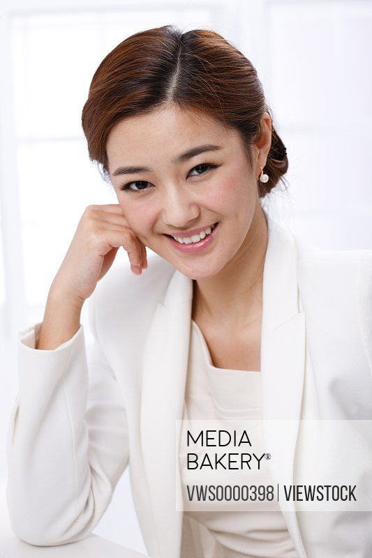 Young business lady smiling