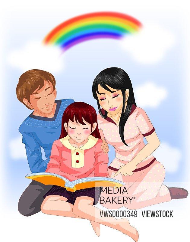 Illustration of family reading book