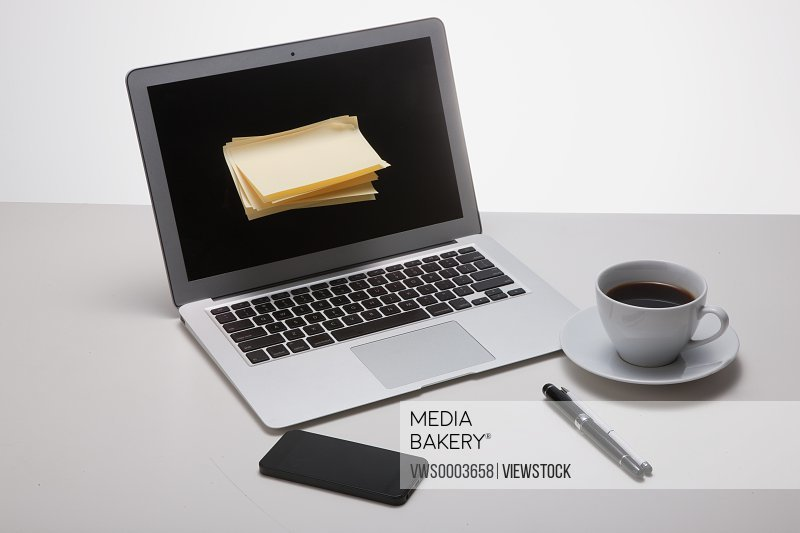 A laptop on table