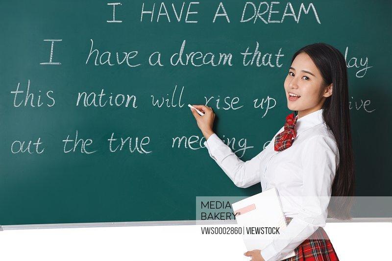Student girl writing