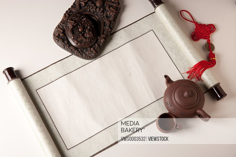 Scroll inkslab,and teaset