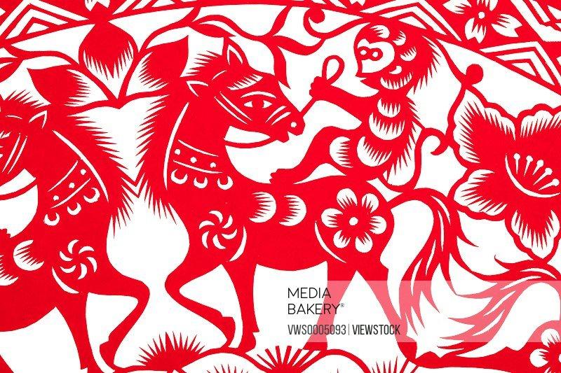 Paper cutting horse