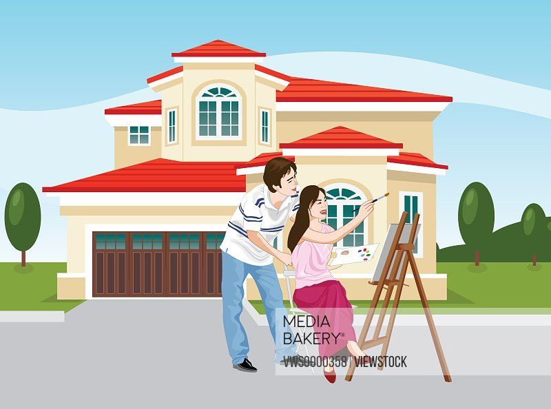 Illustration of couple drawing picture
