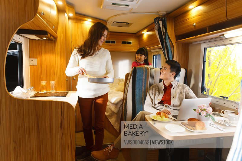 Family in a motor home