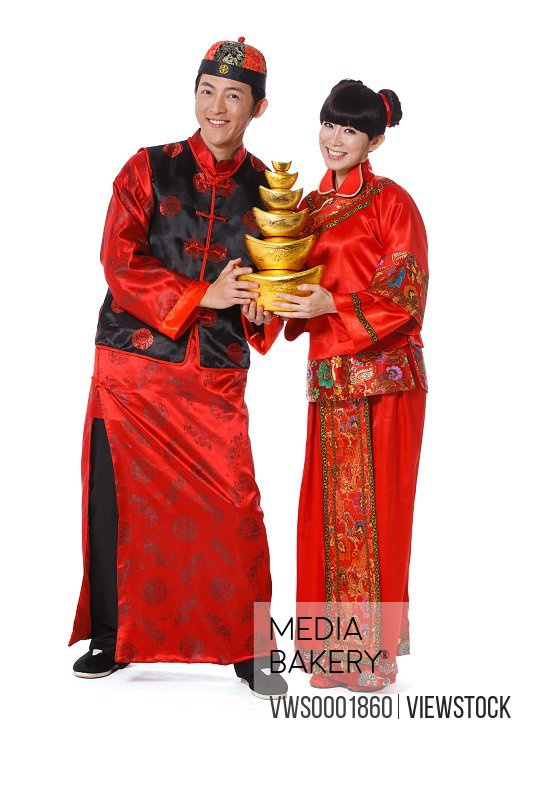 Young couple celebrating Chinese New Year