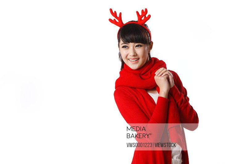 Young woman celebrating Christmas