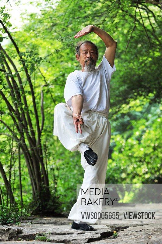 Senior man doing exercise