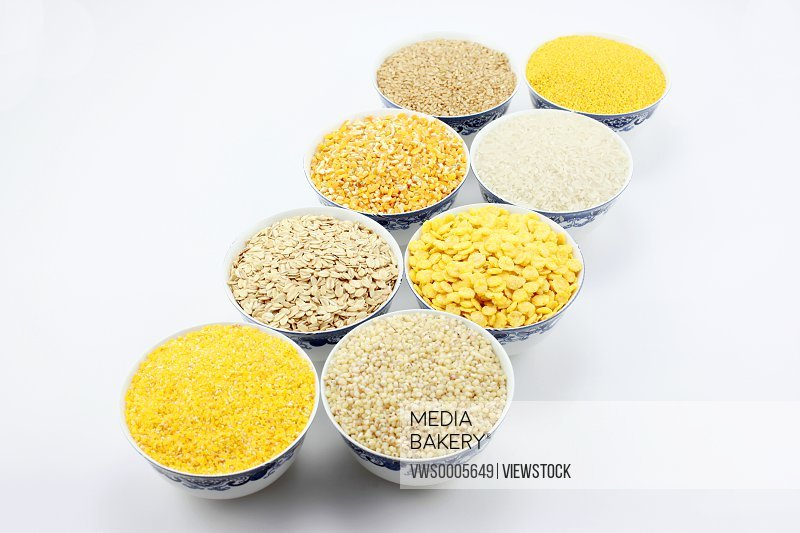 Bowls of assorted grain