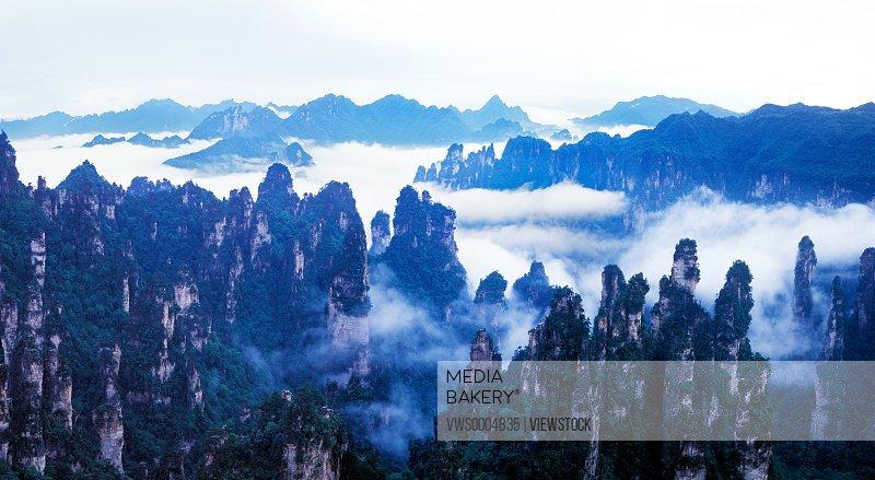 Tianzishan mountain peaks in Hunan