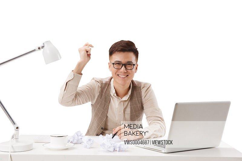A business man working