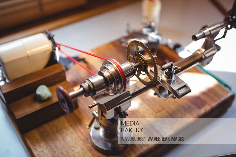 Close-up of watch repairing machine in a horology workshop