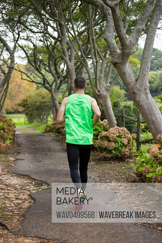 Rear view of jogger jogging in park