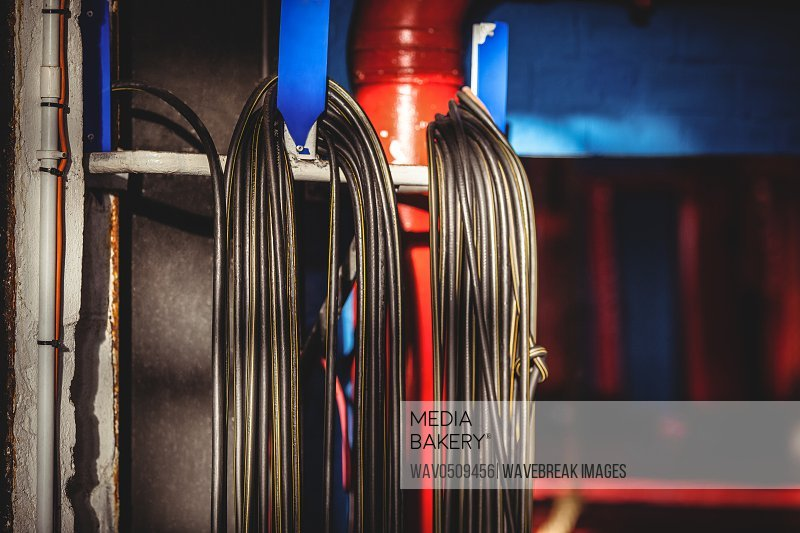 Close-up of skipping ropes in fitness studio