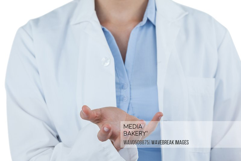 Mid-section of female doctor gesturing