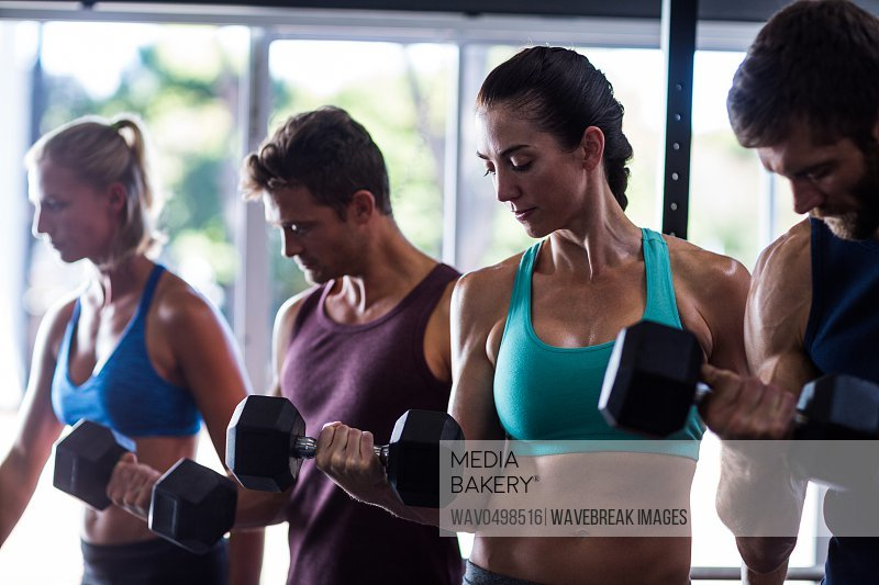 Young friends holding dumbbells while working out in gym