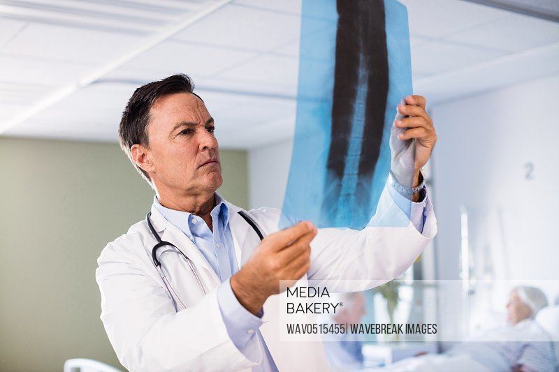 Male doctor checking x-ray report