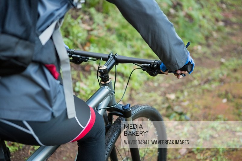Mid section of male mountain biker riding in forest