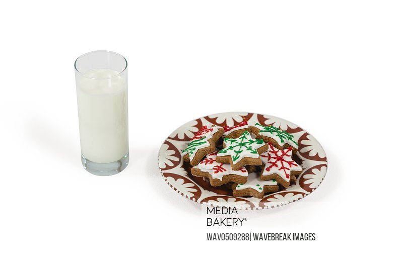 Close-up of milk and sweet food in plate