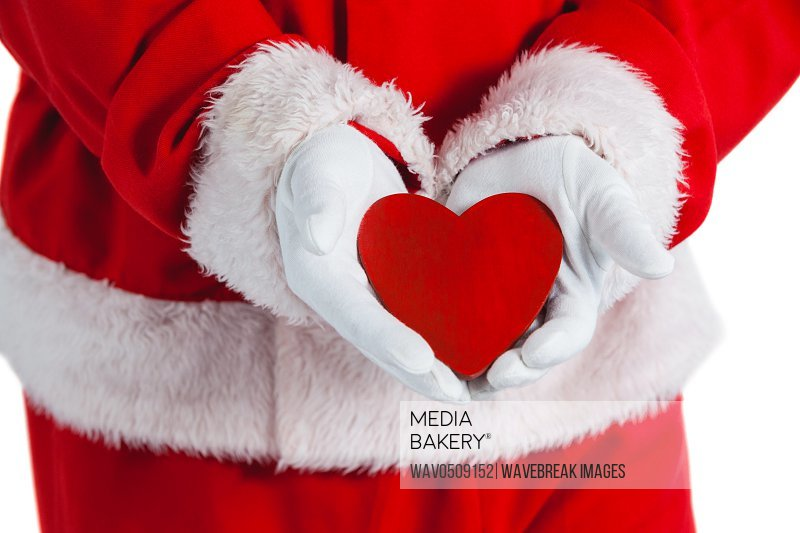 Santa claus showing red heart shape