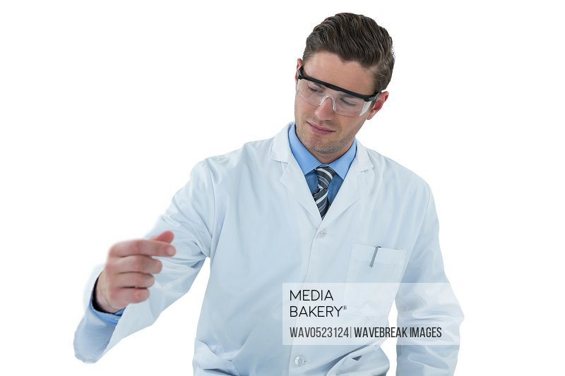 Doctor pretending to be doing experiment