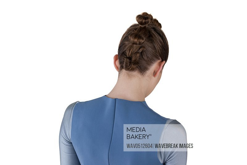 Rear view of woman with hairstyle against white background
