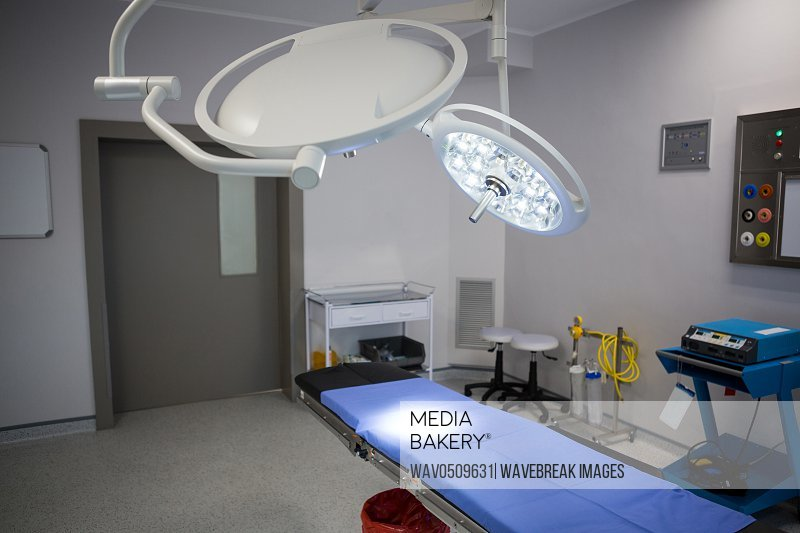 Equipment and medical devices in modern operating room at hospital