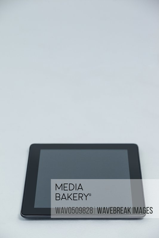 Close-up of digital tablet on white background