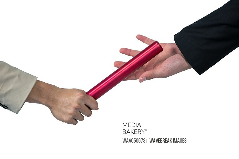 Business people passing a baton on white background 4k