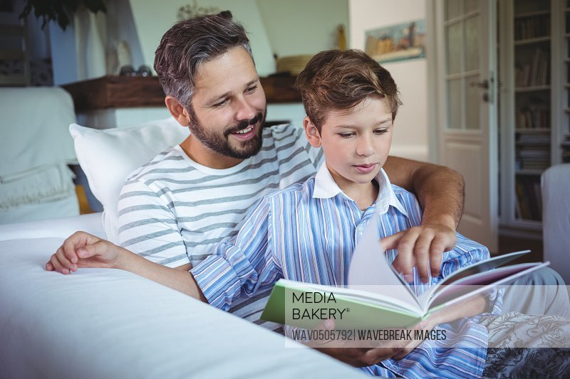 Father and son looking at photo album in living room at home