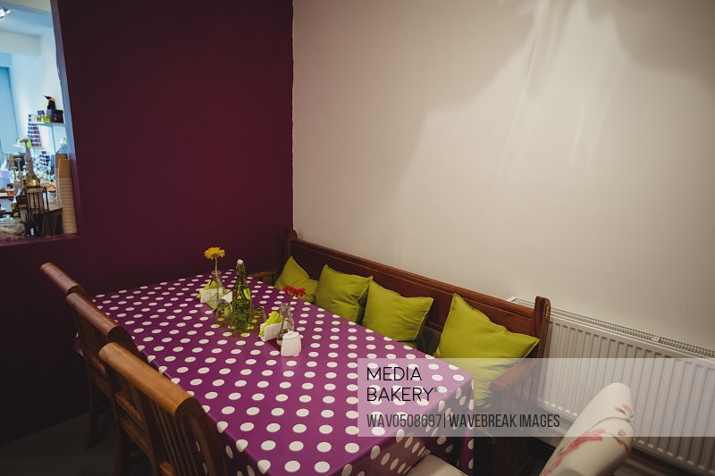 Table setting in cake shop