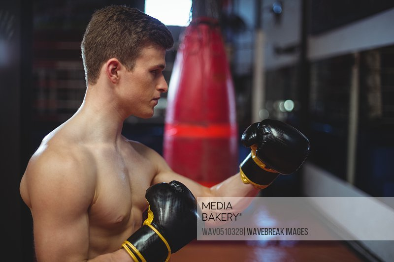 Boxer performing boxing stance in fitness studio