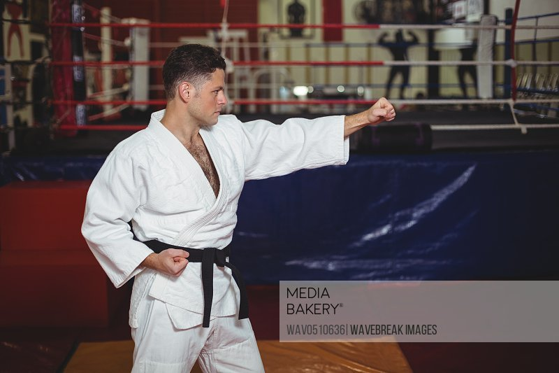 Karate player practicing karate stance in fitness studio