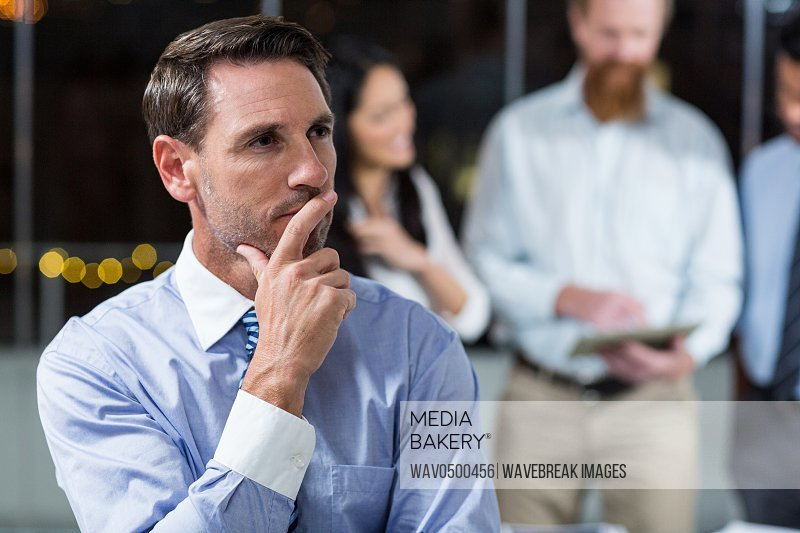 Close-up of thoughtful businessman in the office